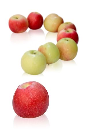 eating questions: apples like a question mark. isolated on white background Stock Photo