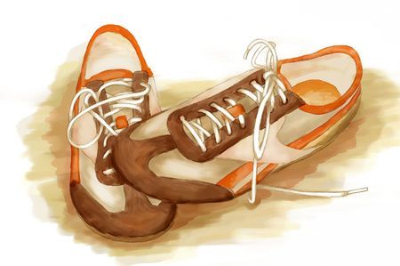 footgear: running shoes. digital watercolor Stock Photo