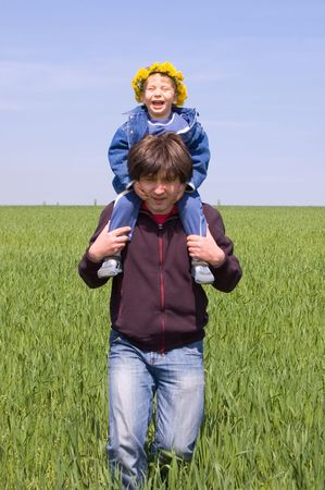 happy little boy is on his father Stock Photo - 2920394