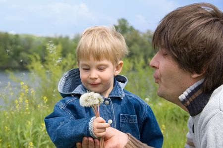 little boy and his father play with dandelions Stock Photo - 3101460