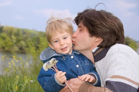 father kiss his little son Stock Photo - 3101461