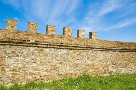 genoese: wall of medieval Genoese stronghold. Crimea, Ukraine Stock Photo