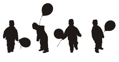 silhouettes of children with balloons Vector