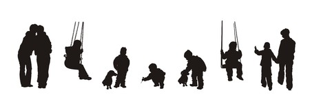 silhouettes of  and children Vector
