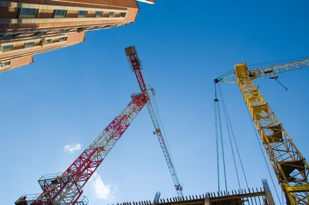 hoisting cranes and new building Stock Photo - 3311876