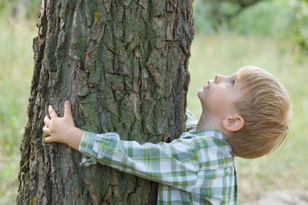 environment protection: care for nature - little boy embrace a tree Stock Photo
