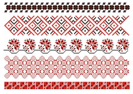 vector ornamenten. Oekraïense kunst grenzen. Set 3