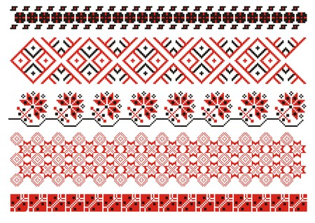 embroidery on fabric: vector ornaments. Ukrainian art borders. Set 3