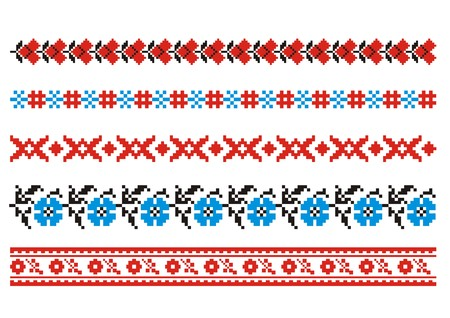 embroider: vector ornaments. Ukrainian art borders. Set 4 Illustration