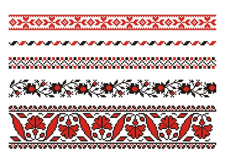 embroider: vector ornaments. Ukrainian art borders. Set 5