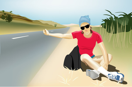 hitchhiking: vector girl hitch-hiking Illustration