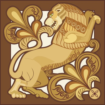lion tail: composition with lion and floral elements