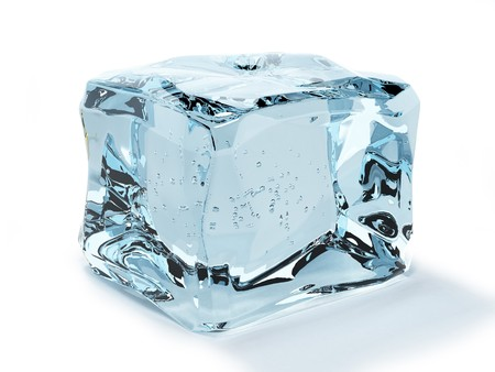 melting ice: ice cube isolated on white background