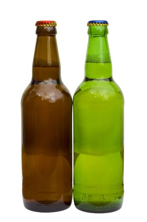 taphouse: two bottle of beer isolated on white background