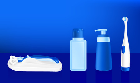 vector illustration of cosmetic containers, tooth brush and safety razor Vector