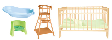 cradle: objects set of childrens room interior - vector illustration