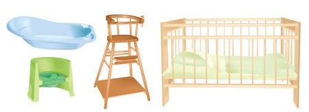 child bedroom: objetos de la habitaci�n de los ni�os de interiores - ilustraci�n vectorial Vectores