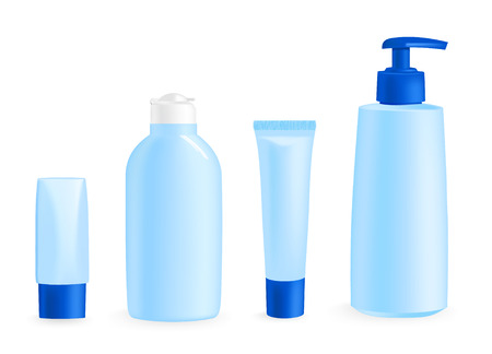 vector illustration of cosmetic container templates on white Vector