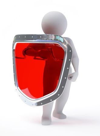 3d abstract person in pose of defender with shield isolated on white background Stock Photo