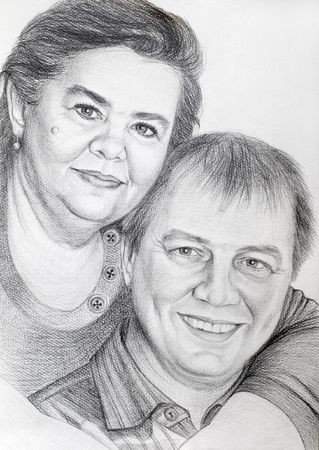 pencil drawn of portrait of middle-aged couple photo