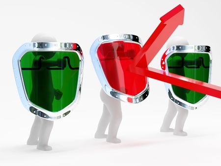 3d abstract security persons with shields isolated on white background photo