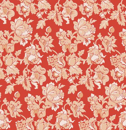 seamless red baroque venetian wallpaper - vector illustration
