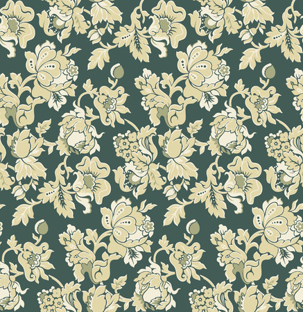 seamless green baroque venetian wallpaper - vector illustration Vector