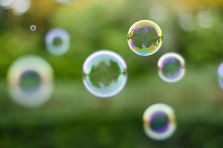 soap-bubbles on nature background