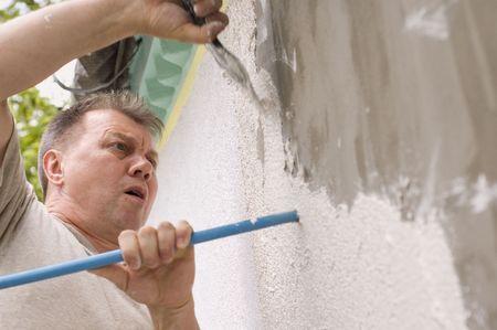 man makes renovation outdoor photo