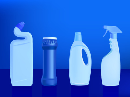 pulverizer: detergents - vector illustration on blue background - set 2 Illustration