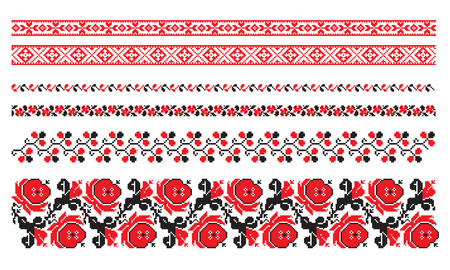 ornaments of ukrainian embroidery - set 8 Vector