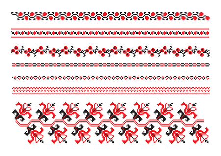 ornaments of ukrainian embroidery - set 9 Vector