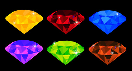 karat: vector set of many-coloured gems