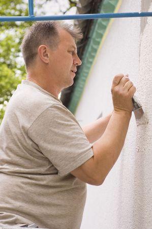 man makes renovation indoor  photo