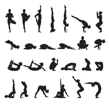 yoga silhouettes vector set 1 Vector