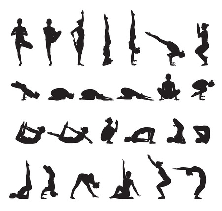 trainers: yoga silhouettes vector set 1