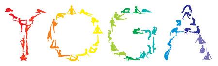 fitness trainer: yoga silhouettes rainbow of yogi young slim girl - vector set
