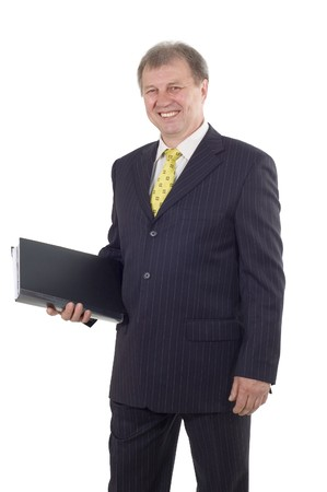 successful mature business man with folder isolated on white background  photo