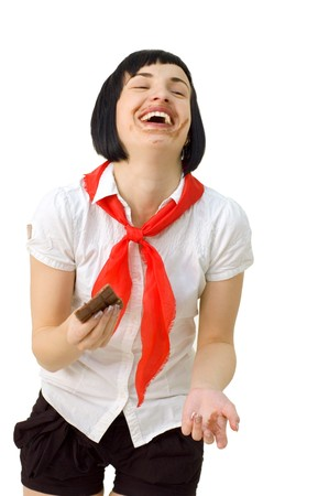 laughing pioneer girl eating chocolate in bars isolated on white background Stock Photo - 7053439