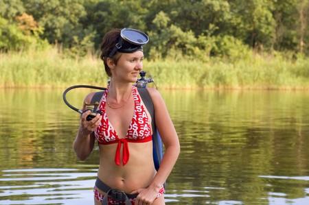 scuba diver young woman summer river Stock Photo - 7475233