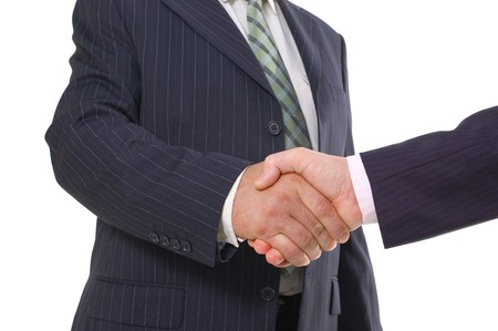 handshake isolated on white background Stock Photo - 7475213