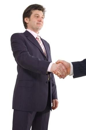 handshake isolated on white background photo