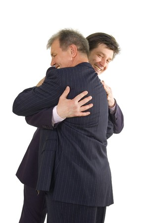 embrasing feliz de éxito bisness hombres aislado sobre fondo blanco