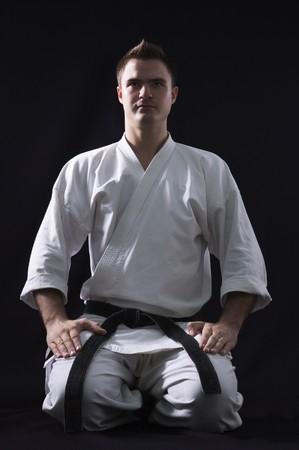karate man on black background studio shot Stock Photo - 7502254