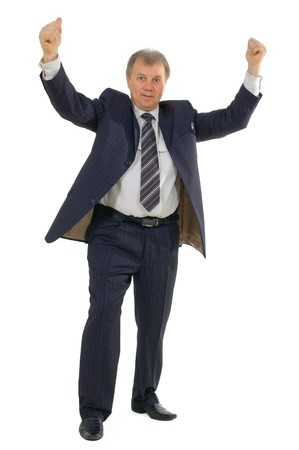 happy successful businessman hands up isolated on white background Stock Photo - 7539343
