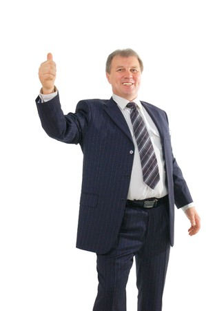mature businessman with thumbs up isolated on white background photo