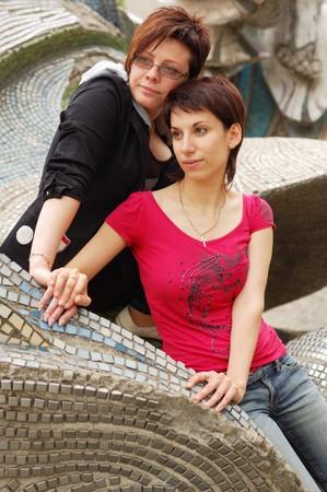 fem: women couple outdoor Stock Photo