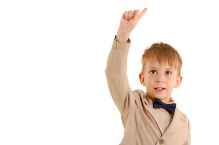 fop: boy has idea isolated on white background