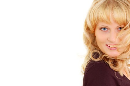 beautiful smiling blond woman isolated on white background photo