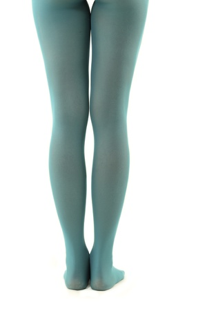 legs long female in green-blue tights isolated on white background photo